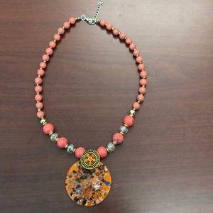 NWOT Beaded Glass Pendant Necklace in Orange